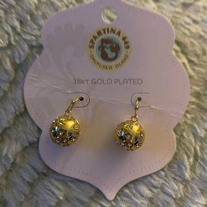 Spartina 449 18k overlay ball gem earrings NWT